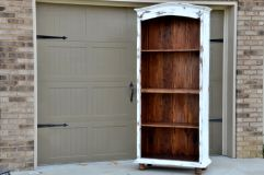 Bookshelf painted in Maison Blanche Magnolia, heavily distressed withth clear wax.